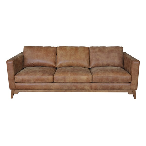 Filmore 89 inch tan leather sofa overstock shopping for Leather sectional sofa overstock