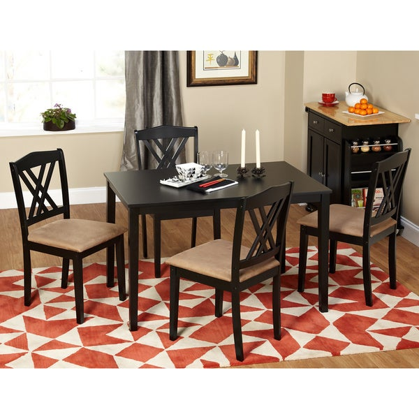 5 Piece Kitchen Dining Set Modern Table Chairs Dinner Furniture Black Room New
