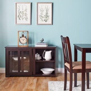 Simple Living Glass Sliding Door Stackable Cabinet