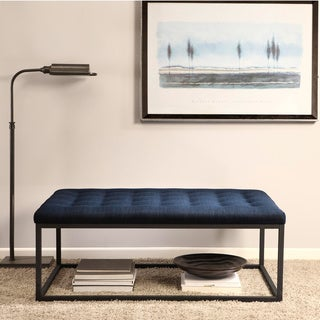 Renate Navy Linen Coffee Table Ottoman