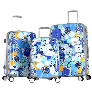 Olympia 'Blossom II' 3-piece Hardside Spinner Luggage Set with TSA Lock