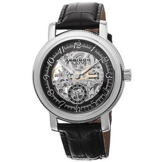 Akribos XXIV Men's Automatic Movement Skeleton Dial Leather Strap Watch