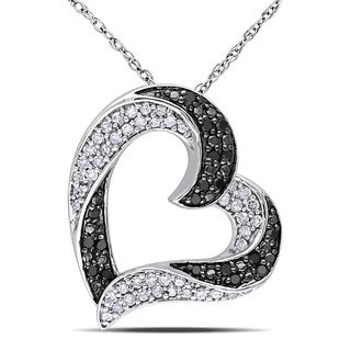 Miadora 10k White Gold 1/3ct TDW Black and White Diamond Heart Necklace (H-I, I2-I3)