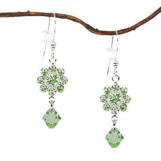 Jewelry by Dawn Peridot Green Crystal Flower Drop Earrings