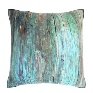 Rustic Blue Wood 18-inch Velour Throw Pillow