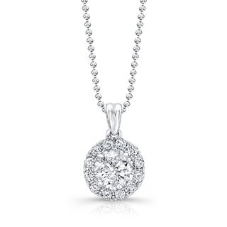 14kt White Gold 1ct TDW Diamond Classic Halo Necklace (G-H)