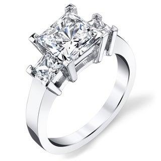 Platinum 3ct TDW Princess-cut Three Stone Diamond Ring (I-J, SI3)