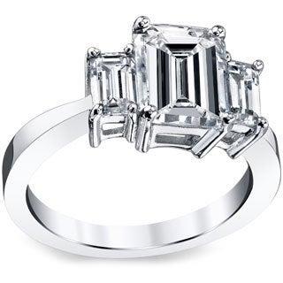 Platinum 3ct TDW Emerald-cut Certified Diamond Ring (I-J, SI1)