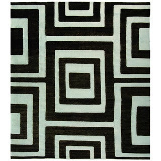 Safavieh Hand-knotted Santa Fe Silver/ Black Wool Rug (9' x 12')