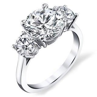 Platinum Certified 3ct TDW Diamond Engagement Ring (H-I, VS1-VS2)