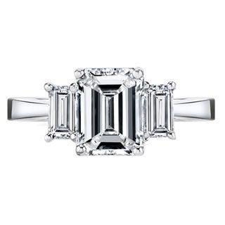 Platinum Certified 2 1/2ct TDW Emerald-cut Diamond Ring (H-I, VS1-VS2)
