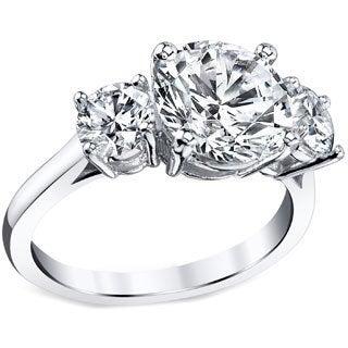 Platinum Certified 3ct TDW Round Three Stone Diamond Ring (I, SI3)