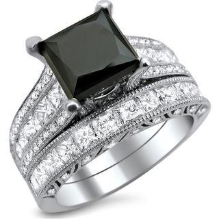 Noori 18k White Gold 4 3/4ct TDW Black and White Princess-cut Diamond Engagement Ring Bridal Set (E-F, VS1