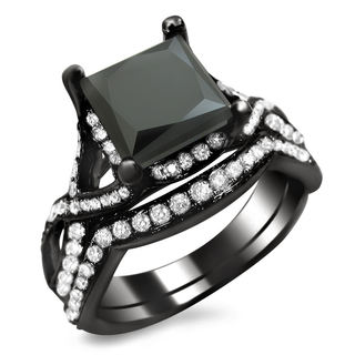 Noori 18k Black Gold 2 3/4ct TDW Black Princess-cut Diamond Bridal Set (VS1-VS2)