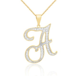 Finesque Yellow 14k Gold Overlay Diamond Accent Initial Necklace