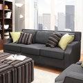 INSPIRE Q Broadway Dark Grey Fabric Sloped Track Arm Sofa