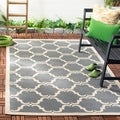 Safavieh Indoor/ Outdoor Moroccan Courtyard Anthracite/ Beige Rug (4' x 5'7)