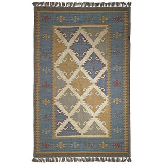 Hand Woven Royal Jute and Wool Flat Weave Rug (8'x10')