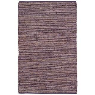 Hand Woven Purple Jeans Denim and Hemp Rug (9'x12')