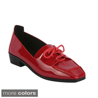 Bumper Women's 'Iman-04' Square Toe Lace-up Chunky Loafers