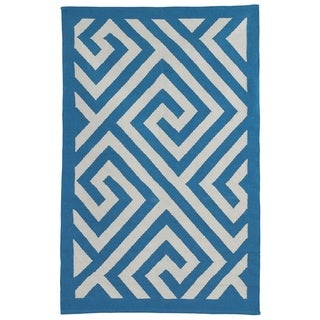 Indo Hand-woven Broadway White/ Enchanting Blue Contemporary Geometric Area Rug (3' x 5')