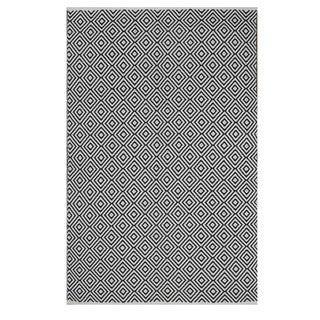 Indo Hand-woven Veria Black/ White Geometric Flat-weave Area Rug (3' x 5')