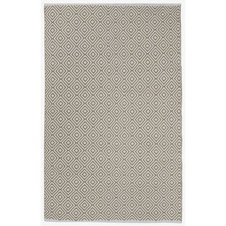 Indo Hand-woven Veria Khaki/ Off-white Contemporary Geometric Area Rug (5' x 8')
