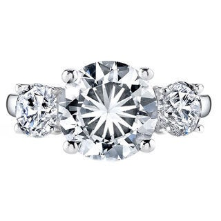 Platinum 2 3/4ct TDW Certified Round 3-stone Diamond Engagement Ring (H-I, VS1-VS2)