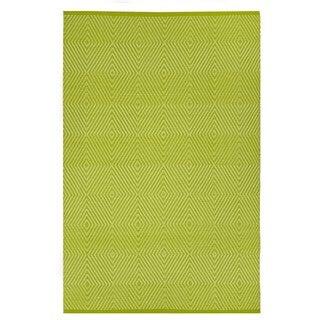 Indo Hand-woven Zen Green/ White Contemporary Diamond Area Rug (5' x 8')