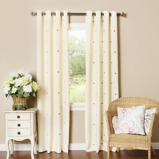 Lights Out Pom Pom Dot Oxford Grommet Top Curtain Panel Pair