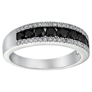 Beverly Hills Charm 10k White Gold 4/5ct Diamond Two-row Channel Band Ring (H-I, I2-I3)