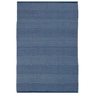 Indo Hand-woven Zen Blue/ White Contemporary Geometric Area Rug (4' x 6')