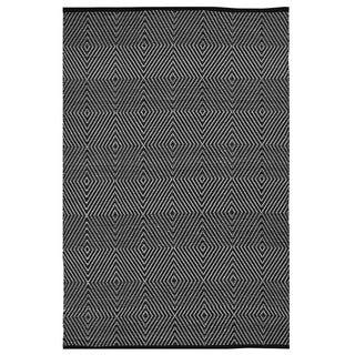 Indo Hand-woven Zen Black/ White Contemporary Geometric Area Rug (3' x 5')