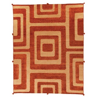 Safavieh Hand-knotted Santa Fe Light Gold Wool Rug (9' x 12')