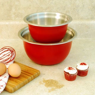 Stainless Steel Red Mixing Bowls (Set of 2)
