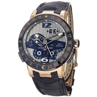 Ulysse Nardin Men's 326-00 'El Toro' Silver Dial Blue Leather Strap Rose Gold Watch