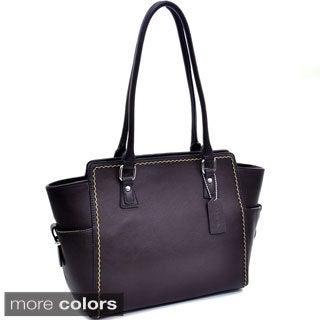 Dasein Stitched Side Pocket Shoulder Bag