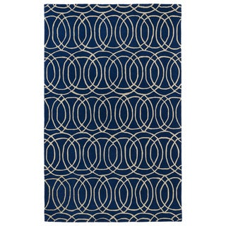 Hand-tufted Cosmopolitan Circles Navy/ Ivory Wool Rug (9'6 x 13')