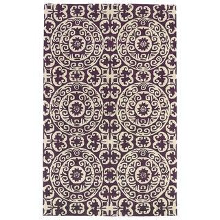 Hand-tufted Runway Purple/ Ivory Suzani Wool Rug (9'6 x 13')