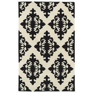 Hand-tufted Runway Black/ Ivory Damask Wool Rug (9'6 x 13')