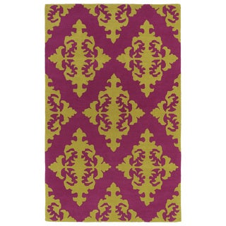 Hand-tufted Runway Pink/ Gold Damask Wool Rug (9'6 x 13')