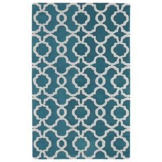 Hand-tufted Cosmopolitan Trellis Teal/ Ivory Wool Rug (5' x 7'9)
