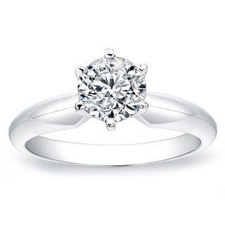 14k White Gold 1t TDW White Diamond Solitaire Ring (G-H, SI2-SI3)