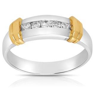Eloquence 14k Two-tone Gold Men's 1/4ct TDW Diamond Wedding Band (J-K, I1-I2)
