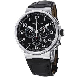 Ulysse Nardin Men's 1503-150/62 'Marine Diver' Black Dial Black Leather Strap Watch