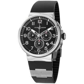 Ulysse Nardin Men's 1503-150-3/62 'Marine Diver' Black Dial Black Rubber Strap Watch