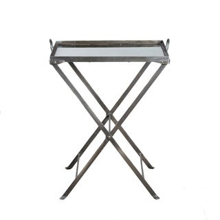 George Antiqued Nickel-finished Steel Butler Tray Accent Table (India)