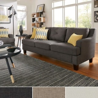 INSPIRE Q Elston Linen Tufted Sloped Track Sofa