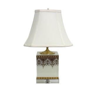 1-light Cavalier White/ Red Porcelain Box Lamp