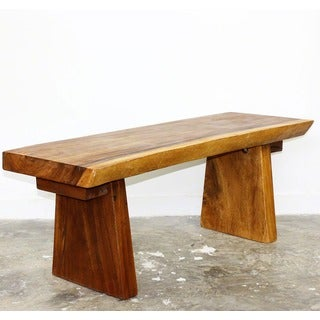 Hand-carved 48 x 17 - 20 x 18 Golden Oak Oil Acacia Natural Edge Wood Bench (Thailand)